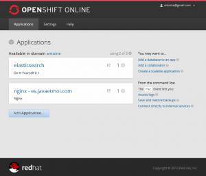 Elasticsearch et Nginx sur OpenShift