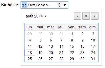 Champs de saisie d'une date HTML 5 sous Google Chrome